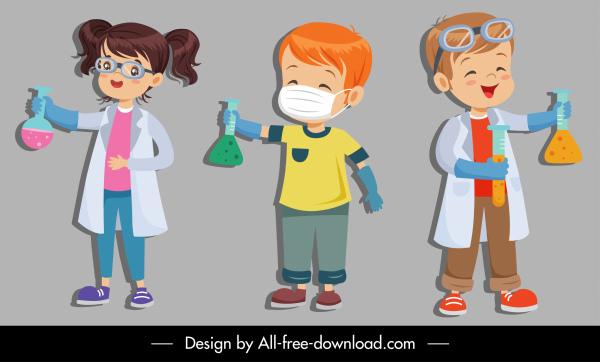 scientist icons cute kids cartoon characters sketch