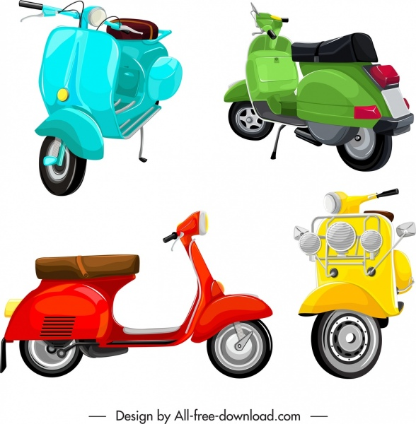 scooter motorbikes templates shiny colored 3d sketch