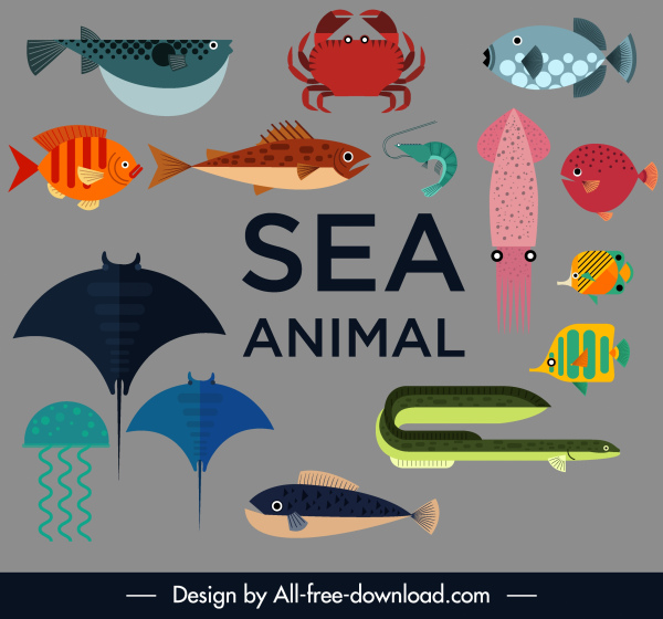 sea animals icons colored flat sketch