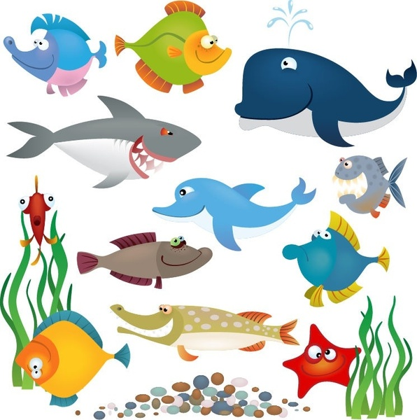 Sea Animals Vector Set
