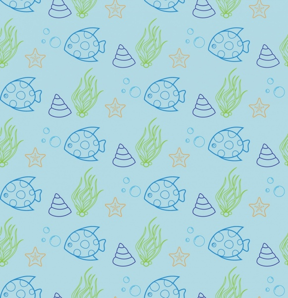 sea creatures pattern outline colored repeating style