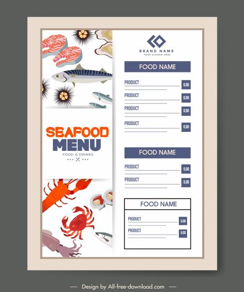 sea food menu template flat classical marine elements