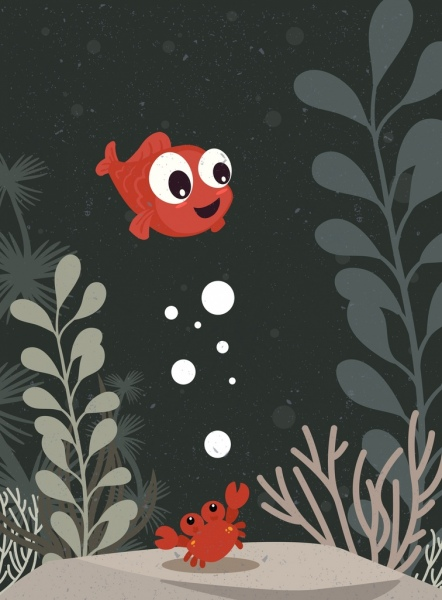 sea life drawing fish crab icons colored cartoon