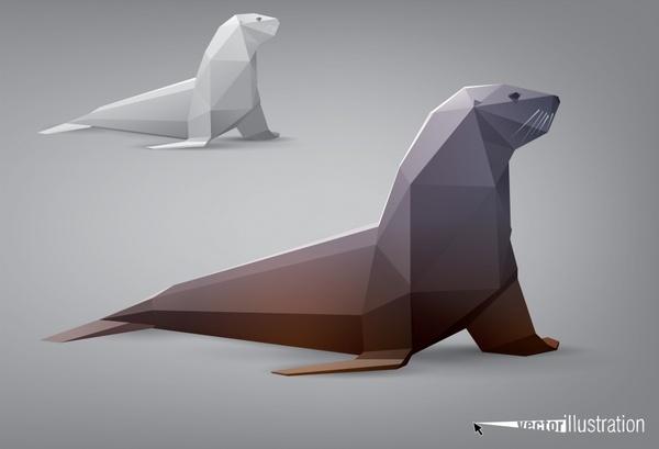 Sea Lions Facade Body Animal Model Vector