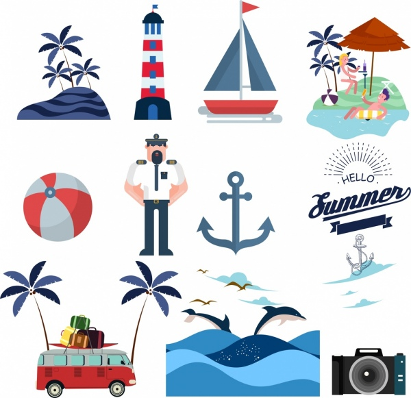 sea logo design elements multicolored objects symbols