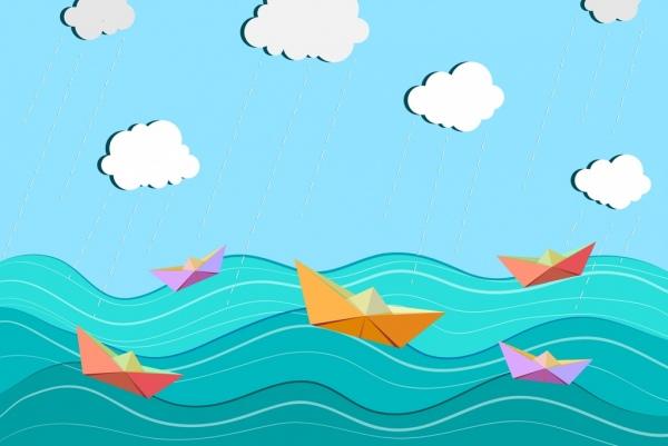 sea ship drawing paper cut decoration