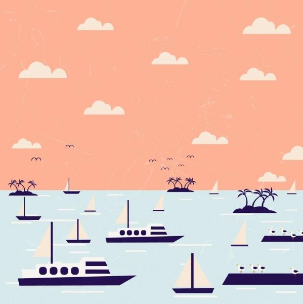 sea ships drawing multicolored design
