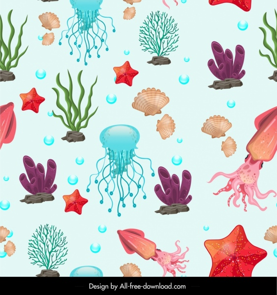 sea species pattern colorful animals icons decor