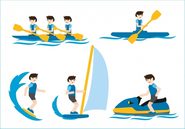 sea sports icons rowing sailing canoeing decoration