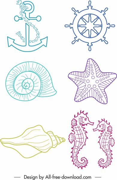 sea symbols icons handdrawn anchor wheel species sketch