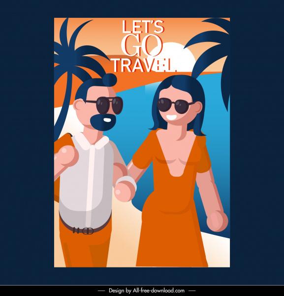 sea travel poster happy couple sketch cartoon design