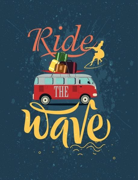 sea trip advertising car luggage calligraphic surfer decor