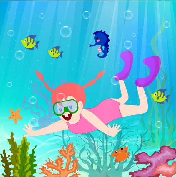 sea vacation background diving girl sea creatures icons