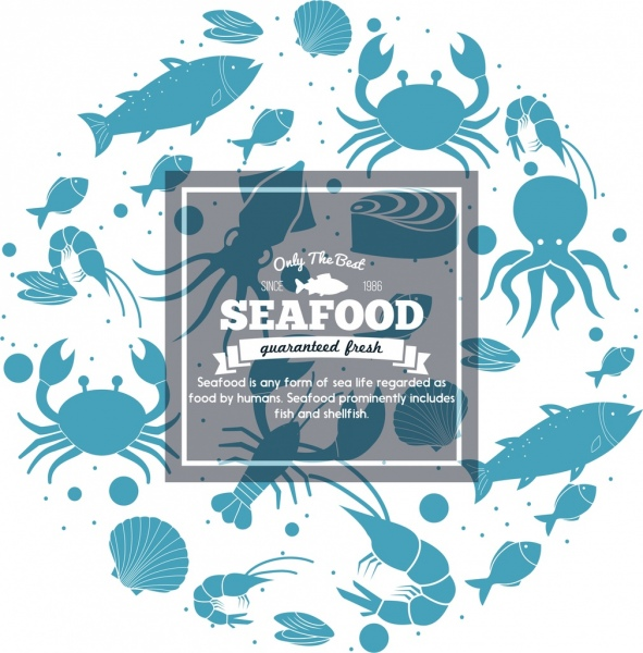 seafood advertisement blue icons marine species silhouette
