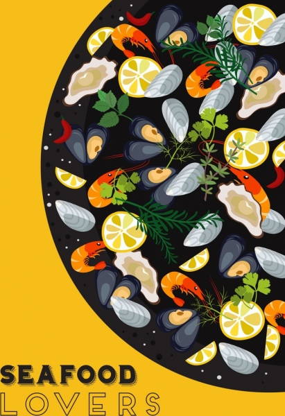 seafood background fresh cuisine icon colorful decor