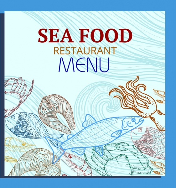 seafood menu cover template species icons handdrawn sketch