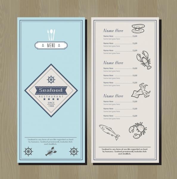 seafood menu template marine species icons decor