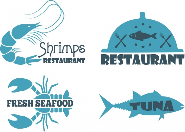 seafood restaurant logo blue flat design species icons