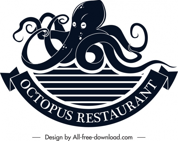 seafood restaurant logo octopus icon black white sketch