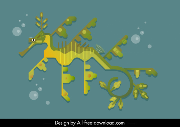 seahorse painting modern flat design