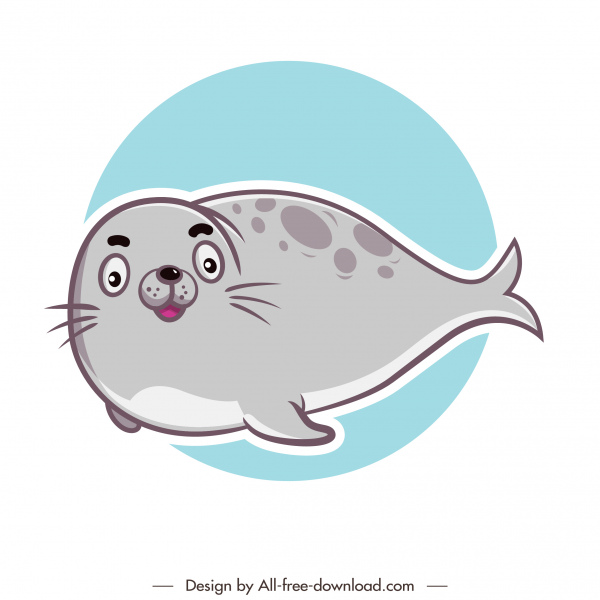 seal animal icon cute cartoon flat handdrawn