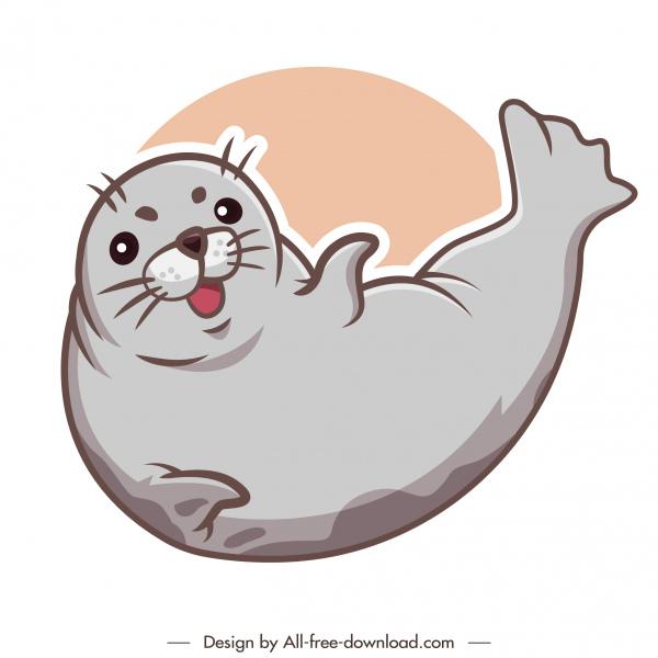 seal animal icon cute handdrawn cartoon sketch