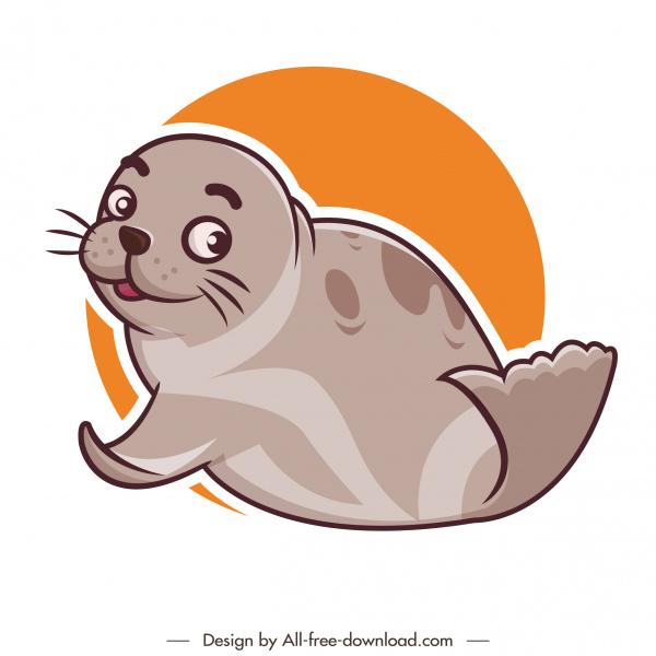 seal animal icon lovely handdrawn cartoon sketch