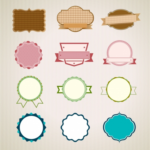 seal templates collection flat shapes plain checkered decoration