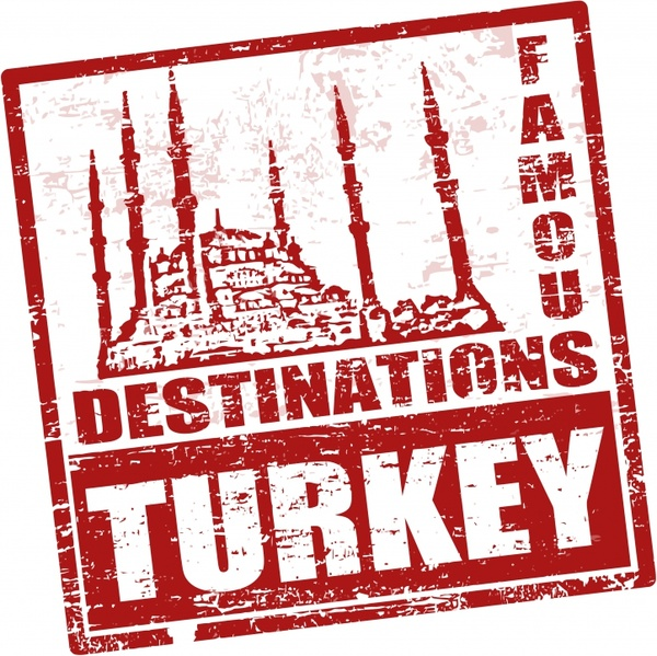 tourism seal template retro grunge turkey landmark sketch