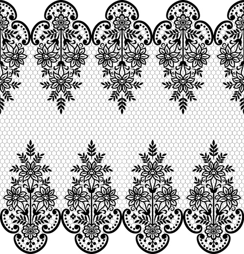 1302e378a3 Seamless black lace borders vectors Free vector in Encapsulated ...