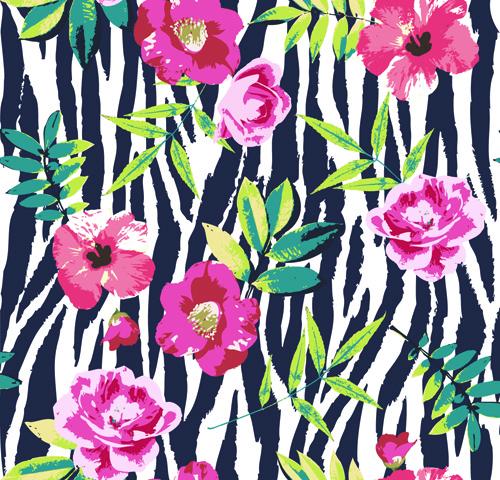 seamless flower patterns vector
