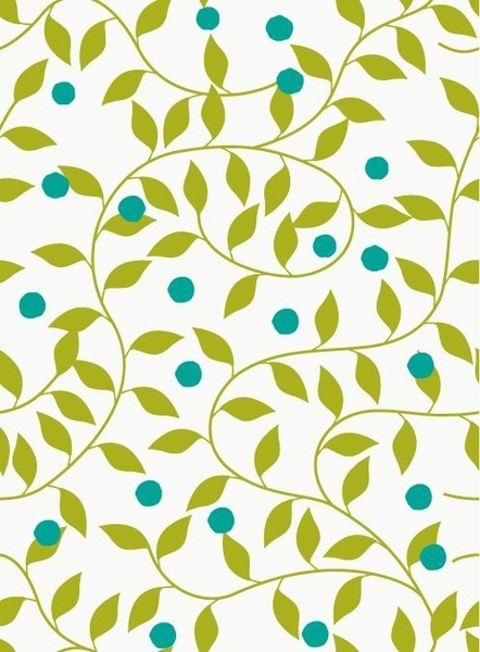 Seamless Green Floral Pattern Vector Background