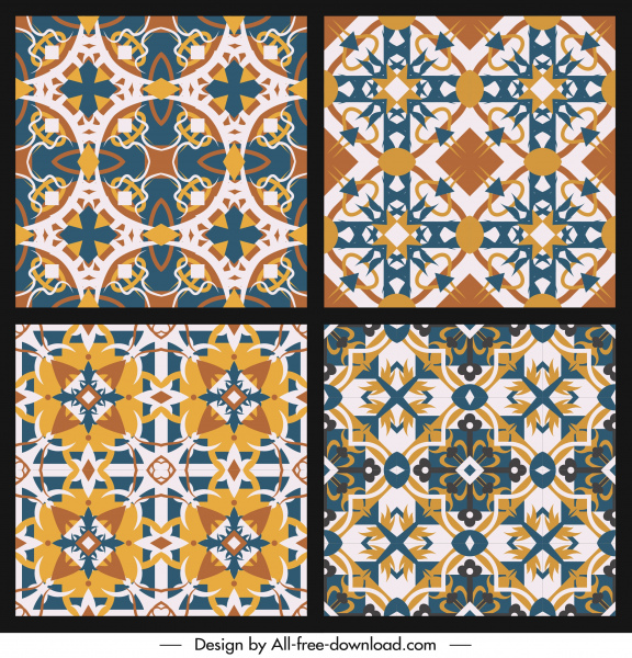 seamless pattern templates classical colorful symmetric repeating decor