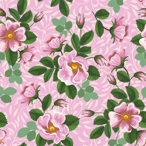 Seamless retro flower pattern vector Free vector 2.40MB