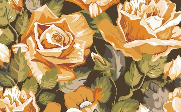 floral background rose icons hand drawn style