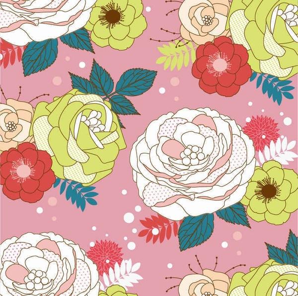 Seamlessly Flower Vector Background