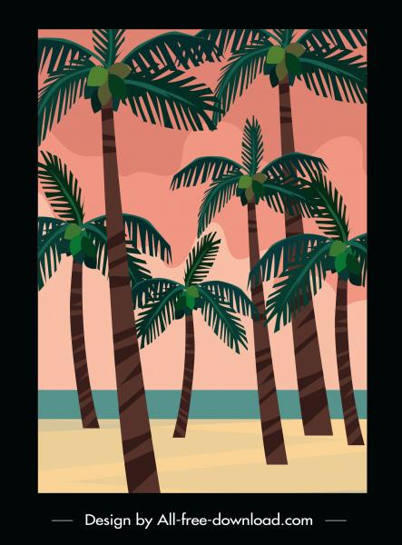 seaside scene painting coconut trees sketch retro design