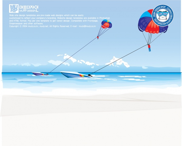 beach activities advertising banner canoe parachute icons