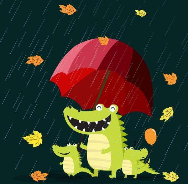 season background stylized green crocodiles umbrella rain icons