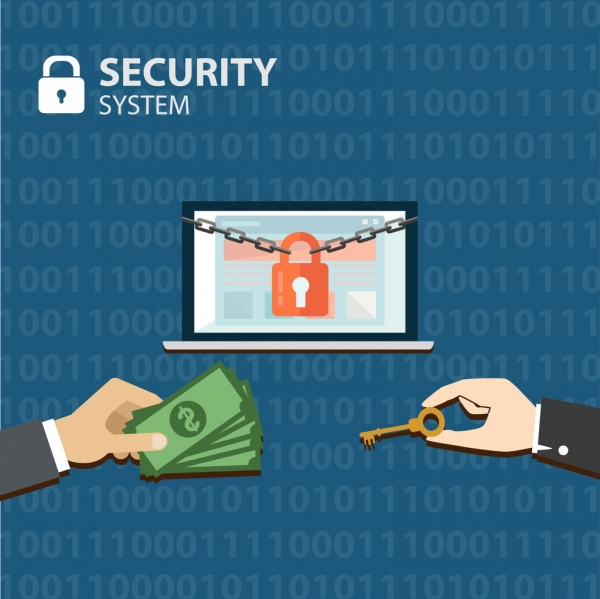 security system concept lock key money icons decoration