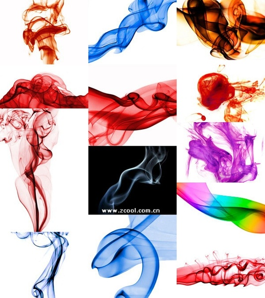 selection of abstract colored smoke highdefinition picture on