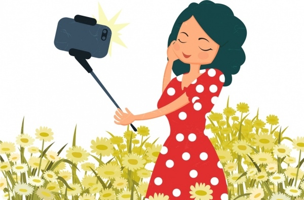 selfie drawing woman smartphone icons colored cartoon