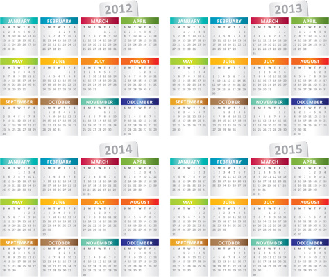 set of1318 calendars template vector graphic
