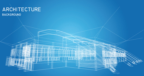 set of abstract construction background vector
