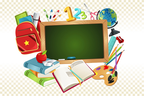set of back to school elements background vector