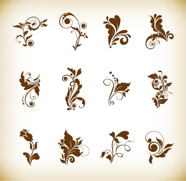 set of beautiful floral elements vector illustration