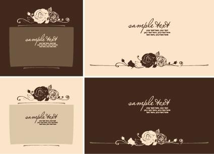 set of beautiful wedding cards design vector