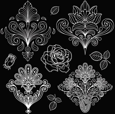 Set Of Black And White Paisley Pattern Vector Graphics Free Vector