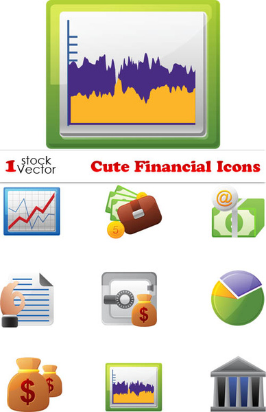 set of business financial icons vector