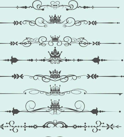 set of calligraphic vintage borders and label vector free vector in